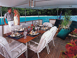 Enjoy outdoor dining on the 28ft x 15ft covered aft deck