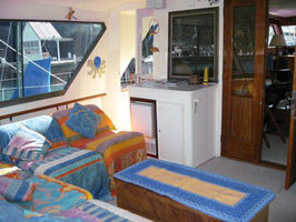 Roomy aft deck (A dining table is being customed designed at this very moment .)