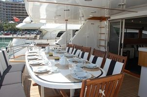The aft cockpit accommodates 12 guests comfortably and also has an outside bar